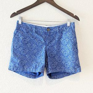 Old Navy Blue and White Floral Cotton Shorts 0
